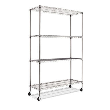 "Alera - Wire Shelving Unit with Casters - 48"" x 18"" x 72"" - 4 Shelves - Black Anthracite"