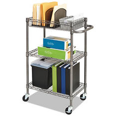 "Alera - Three-Tier Wire Rolling Cart, 16""W x 24""D x 39""H - Black Anthracite"