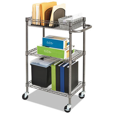Alera - Three-Tier Wire Rolling Cart, 16