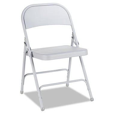 Alera - Steel Folding Chair, Gray, 4Pack