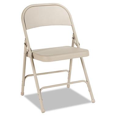 Alera - Steel Folding Chair, Tan, 4Pack