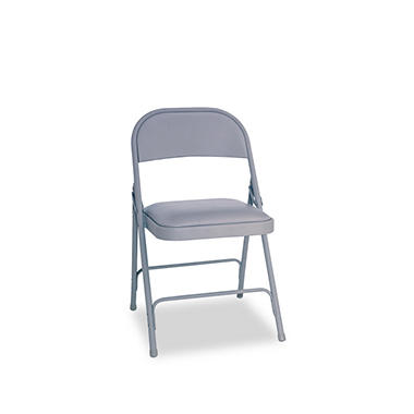 Alera Steel Folding Chair with Padded Seat, Gray - 4 Pack