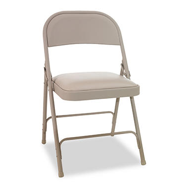Alera Steel Folding Chair w/Padded Seat, Tan - 4 Pack