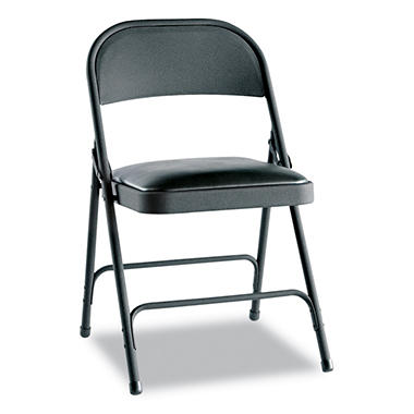 Alera Steel Folding Chair w/Padded Seat, Graphite - 4 Pack