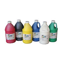 Sax True Flow Medium Body Acrylic Paint Set, 1/2 Gallon Containers, Assorted Vibrant Colors, Set of 6