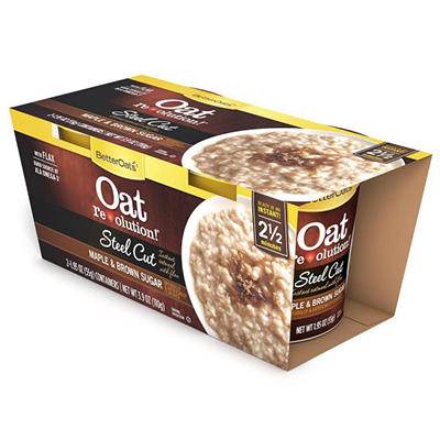 Better Oats Steel Cut Oatmeal Cups, Maple & Brown Sugar (6 pk.)