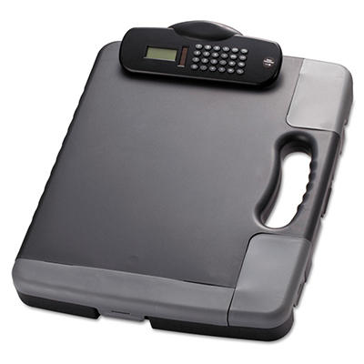 Officemate - Portable Storage Clipboard Case w/Calculator, 11 3/4 x 14 1/2 -  Charcoal
