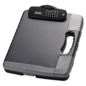 Officemate Portable Clipboard Storage Case with Calculator, Charcoal