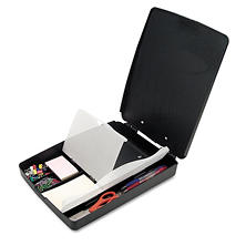 Officemate Extra Storage and Supply Clipboard Box, Charcoal