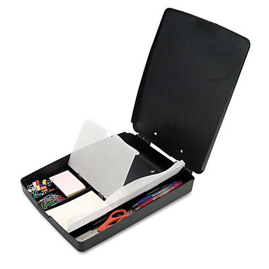"Officemate Extra Storage/Supply Clipboard Box - 1"" Capacity - 8 1/2"" x 11"" - Charcoal"