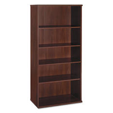 "Bush 36"" Series C 5-Shelf Open Double Bookcase, Hansen Cherry"
