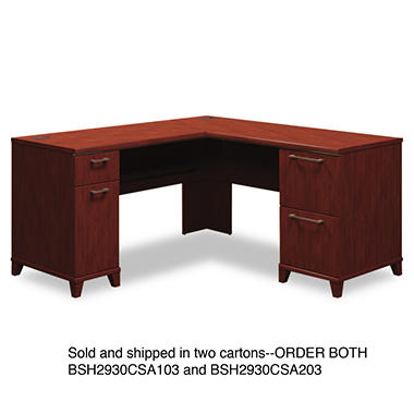 "Bush - Enterprise - 60""W x 60""D L-Desk (Box 2 of 2) - Harvest Cherry"