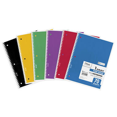 Mead Spiral Bound Notebook - Wide Rule 8 1/2 x 11 - 70 sheets
