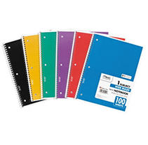 Spiral Bound Notebook, Wide/Margin Rule, 8x10-1/2,White,1 Subject 100 Sheets/Pad