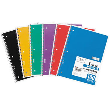 "Mead Spiral Bound Notebook, Wide/Margin Rule, 8"" x 10-1/2"", White,1 Subject 70 Sheets/Pad"