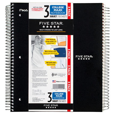 Five Star 3-Subject 150 Count College Ruled Paper Notebook