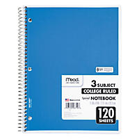 Mead Spiral Bound Notebook, College Rule, 8-1/2 x 11, White, 120 Sheets per Pad