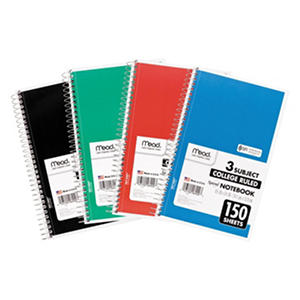 Mead College Ruled 3 Subject Spiral Notebook