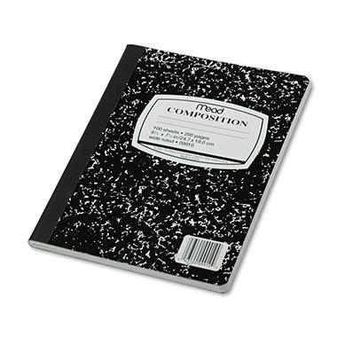 Mead Black Marble Composition Book - Wide Rule - 9-3/4 x 7-1/2 - 100 Sheets