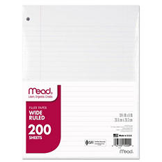 Mead - Filler Paper, 16-lbs., Wide Ruled, 3-hole punched - 10-1/2 x 8 - 200 Sheets