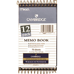 Cambridge Memo Books - 12 Pack of 70 Sheet Books