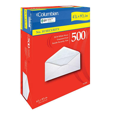 Columbian - Security Tint Envelopes, #10, Gummed - 500 Pack