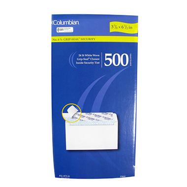"Columbian No. 6 3/4"" Grip-Seal Security Envelopes - 500 Pack"
