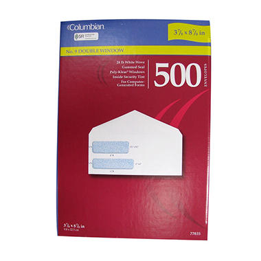 Columbian Poly-Klear White No. 9 Double Window Envelopes - 500 Pack
