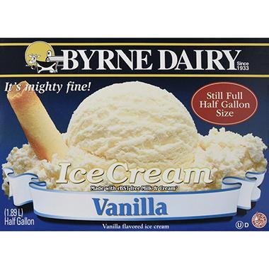 Byrne Dairy Vanilla Ice Cream - 2/.5 gallon