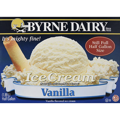 Byrne Dairy Vanilla Ice Cream - 2/.5 gallon