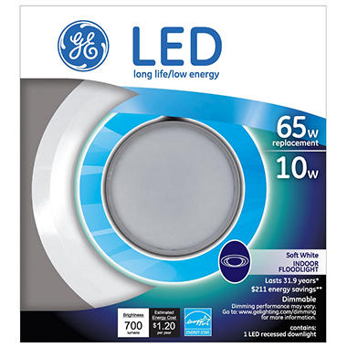 Ge 10 Watt Br30 Led Recessed Downlight Sam S Club