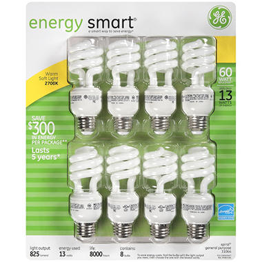 GE® Energy Smart™ 13 Watt Light Bulbs - 8 pk.