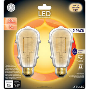 GE LED 40W Replacement Vintage-Style Bulb (2 pk.)