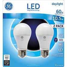 GE 10.5 Watt LED Daylight General Use Bulb (2-pack)
