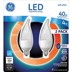 GE LED 4 Watt Soft White Small Base Clear Bent Tip (2 pk.)