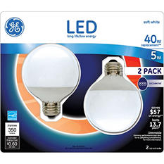 GE LED 5 Watt G25 Globe White (2 pk.)