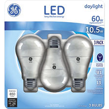 GE 10.5-Watt Equivalent Daylight General-Purpose LED Light Bulbs (3 pk.)