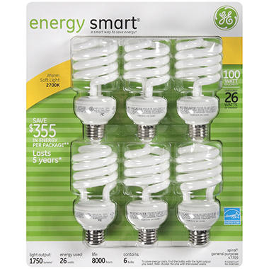 GE Soft White Light Bulbs - 6/26 watt bulbs