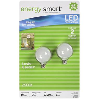 GE energy smart® LED 2 Watt Small White Globe Bulbs - 2 pk.