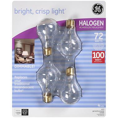 GE Halogen 72 Watt Incandescent Replacement Bulbs - 4 pk.