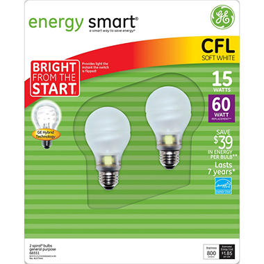 15 Watt Bright From The Start Instant On CFL - Replaces 60 Watt 2 Pack