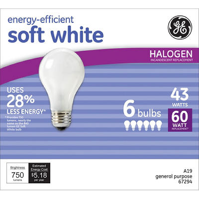 43 Watt Soft White - Replaces 60 Watt Light Bulb 6 Pack