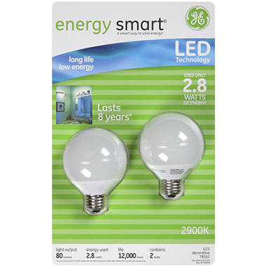 GE energy smart® LED 2.8 Watt White Globe Blubs - 2 pk.
