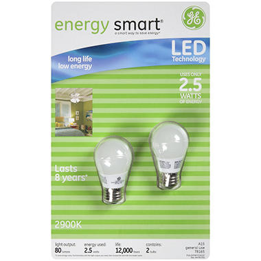 GE energy smart® LED 2.5 Watt General Purpose Bulbs - 2 pk.