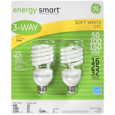 GE energy smart® CFL 3-Way Bulbs - 2 pk.