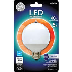 GE LED 5 Watt G25 Soft White Frosted Globe (3 pack)