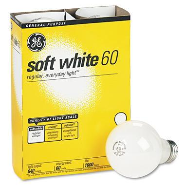 GE Soft White Light Bulbs - 60 Watts - 4 Pack