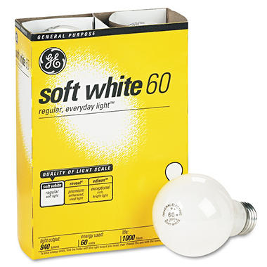 GE Soft White Light Bulbs - 60 Watts - 4 pk.