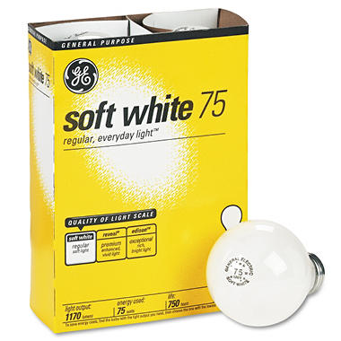 GE Soft White Light Bulbs - 75 Watts - 4 pk.