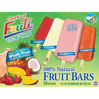 Chunks O' Fruti 100% Natural Frozen Fruit Bars,  16 - 3 oz. Bars